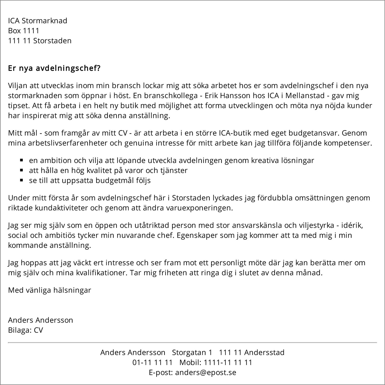 personligt brev mall  u00bb resume format samples